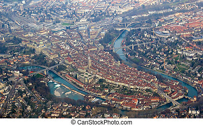 Aerial view of Bern (Capital city of the Switzerland from...