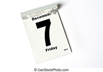 7 December 2012 - calendar sheet