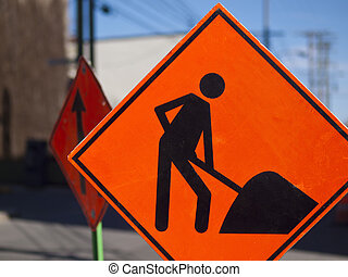 Urban Road Construction sign - Urban road construction sign...