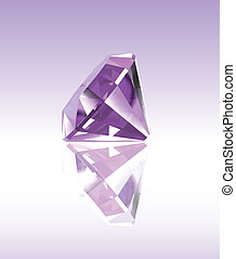 Violet diamond with reflection. Vector illustration