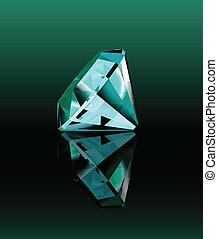 Cyan diamond with reflection. Vector illustration