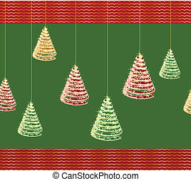 Christmas green background with tree. Vector