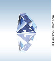 Blue diamond with reflection. Vector illustration