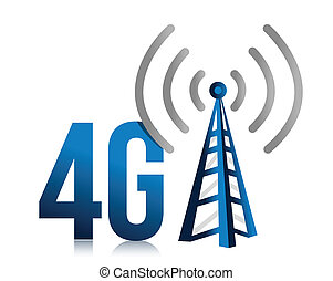 4G speed tower connection illustration design over white