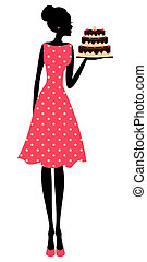 Cake Girl - Illustration of a cute retro girl holding a...