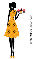 Cupcake Girl - Illustration of a cute retro girl holding a...