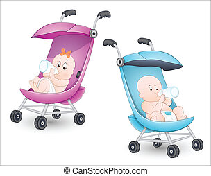 Cute Babies in Stroller - Concept of Cute Babies in Stroller...