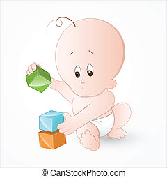 Child Playing with Baby Blocks
