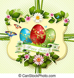 Easter card with butterflies and decorated eggs on grass