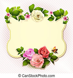 Mirror with roses and butterfly