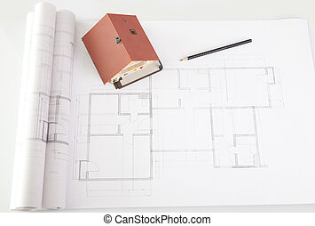 Model house on architecture construction plan