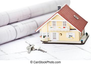 miniature, modèle, maison, clés