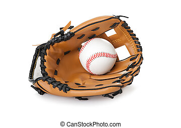 Baseball glove with ball isolated on white - Image of...