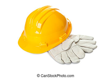 Safety construction equipments on white background - Safety...