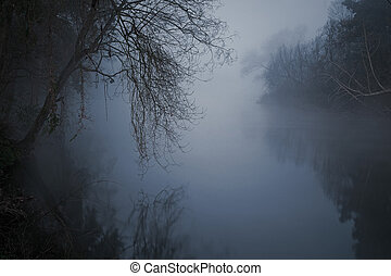 Frightening river - Mysterious and frightening river in a...