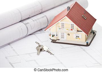 modèle, maison, clé, architectural,...