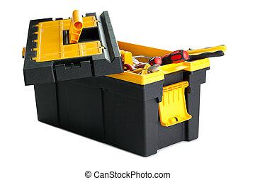 caja de herramientas, herramientas, blanco, Plano de fondo