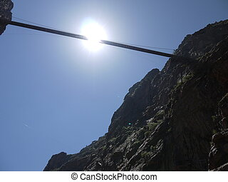 royal gorge - view from bottom of canyon looking up at the...