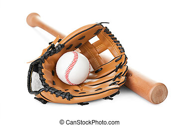 Leather glove with baseball and bat on white - Leather glove...