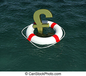 Gold sign of the English pound in lifebuoy floating on the water. 3d rendering