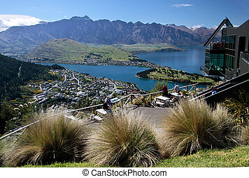 Mountain range The Remarkables from Bobs Peak, Queentown,...
