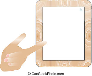 hand holding a touchpad wood tablet pc