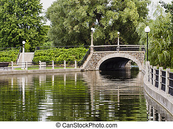 Summer Stone Bridge - A small stone bridge on the Rideau...