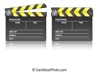 Clapper board on white background, vector EPS 10
