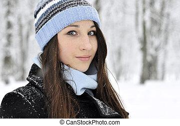 beautiful young gir - Outdoor portrait of beautiful young...