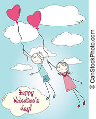 Cute postcard for Valentines day - Boy and girl flying by...