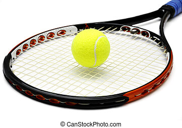 Tennis racket and ball over white background