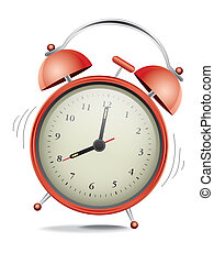 Red alarm clock - Classic red alarm clock over white...