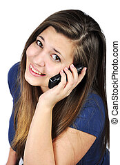 girl with cell phones  - Young girl talking on cell phones