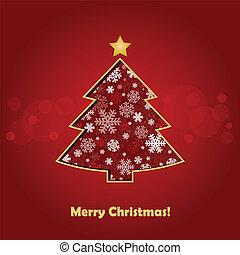 stylized Christmas tree on decorative background