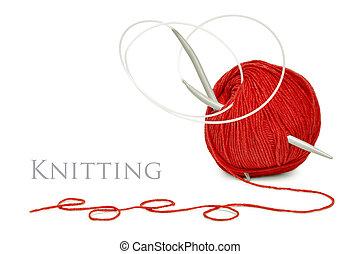 rojo, lana, tejido de punto, agujas
