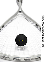 squash racket and ball - Close up of a squash racket and...