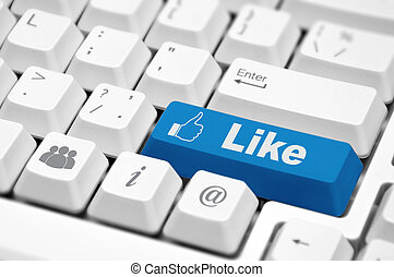 Like button - Like text with thumbs illustration up symbol...
