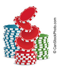 vector casino chips - Piles of vector colorful casino chips...