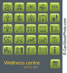 Fitness icons set - Wellness center icons set
