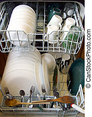 Dishwasher - Open dishwasher with dishes