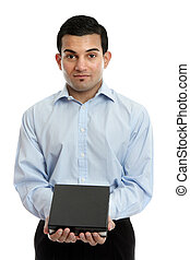 Salesman holding a product or other object