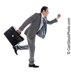 Businessman running with briefcase - Businessman running...