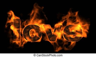 burning love text in flames