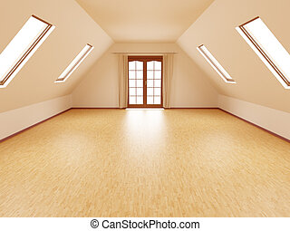 empty room - empty attic or loft room