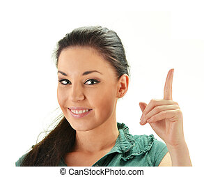 Young smiling woman with her finger up isolated on white