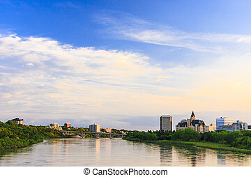 Saskatoon Skyline - Saskatoon cityscape by the South...