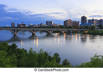 Saskatoon Skyline - Saskatoon cityscape with the University...