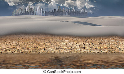 City in desert distance with water