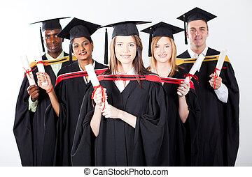 group of international graduates on white background