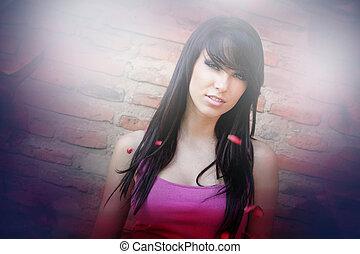 Artistic portrait of sexy cute woman